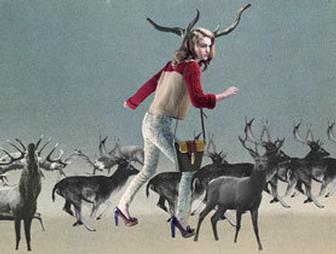 Emil Asgrimsson's collages meld fashion illustration and landscapes