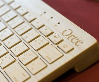A handcrafted wooden keyboard for Mac and iPad