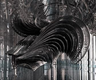 CG ghost of harps and strings created for Iris van Herpen