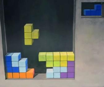 This stop-motion Tetris is made out of chalk and canvas