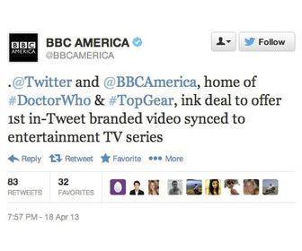 Twitter and BBC America team on 'in-Tweet branded video'