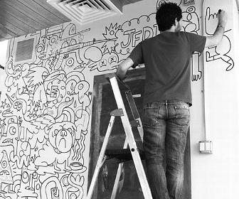 Watch Jon Burgerman doodle all over ustwo's new NY office