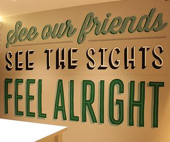 Tobias Hall's indie lettering cheers up Camden's Holiday Inn