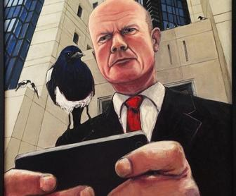 Artist explains his interactive painting of William Hague that watches you watch it