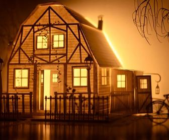 Watch beautiful animation projected onto little papercraft sets