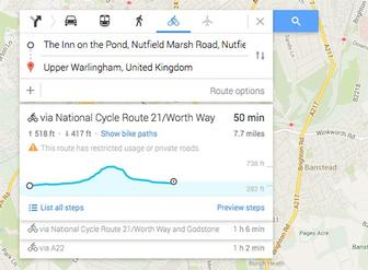 Google Maps adds elevation data for cyclists braving the hills