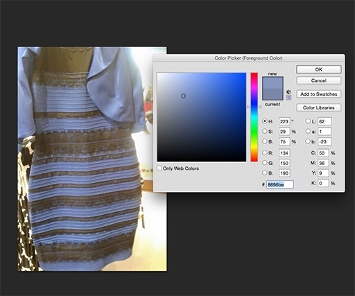 How to tell what colour 'that' dress actually is using Photoshop (it's blue)