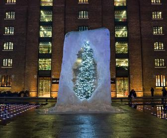 Alex Chinnecks giant ice cube Christmas tree at Kings Cross