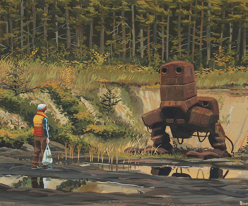 This is sci-fi artist Simon Stålenhag's only physical painting up for auction