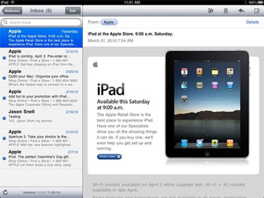 Email on the iPad