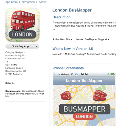 An example of £1.49 pricing for Apps