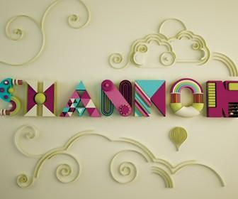 Create decorative 3D type & swirls