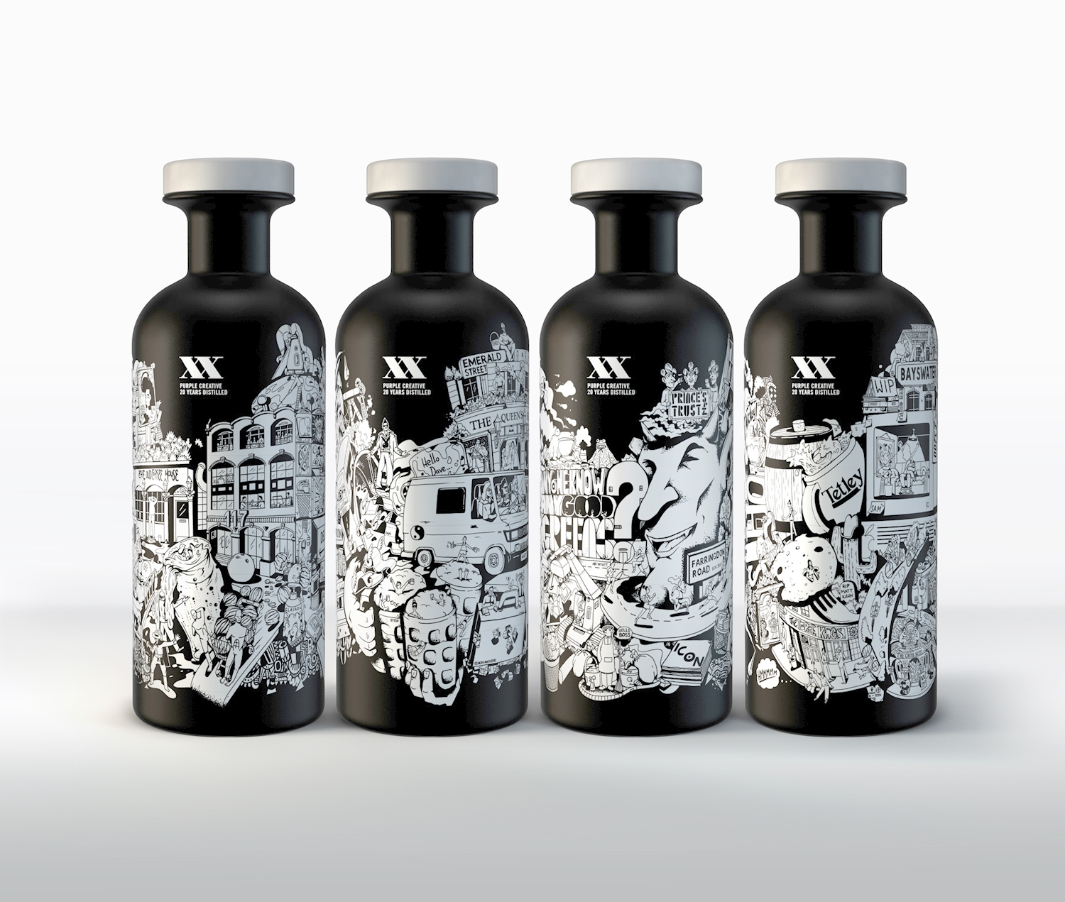 see the awesome whisky bottles designed for purple 39 s 20th birthday digital arts. Black Bedroom Furniture Sets. Home Design Ideas