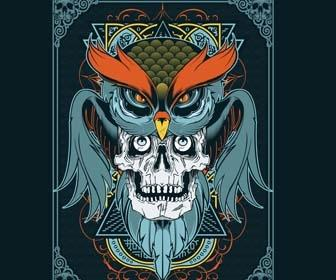 T-shirt design in Illustrator using owl and skull vector art