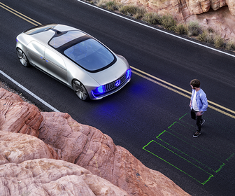Riding in the Mercedes-Benz F 015 concept car, the self-driving lounge of the future