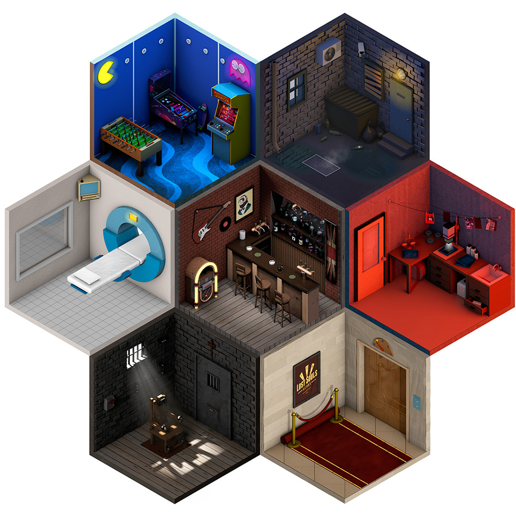 these low poly isometric artworks feature miniature rooms inside