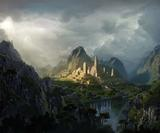 Create an epic fantasy digital matte painting