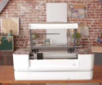 Glowforge is an affordable laser cutter and etcher that fits on your desk