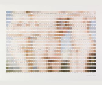 Pixel art made from Pantone-like colour chips mixes Shakespeare and nudity