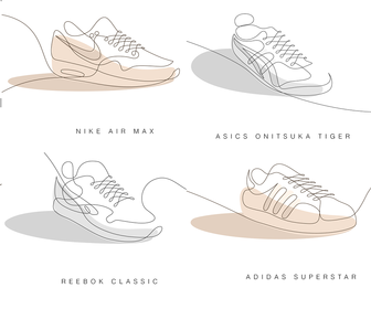 10 famous sneakers drawn with one line