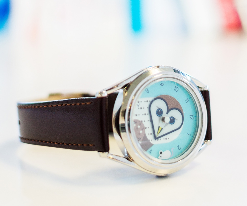 This lovely owl-faced watch was designed by graphics luminary Clifford Richards