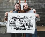 mcbess and Ugo Gattoni spent a week eating, cooking and drawing to create this fun foodie print