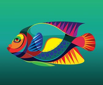 Matt W Moore has translated his abstract vectorfunk art style into Caribbean tropical fish